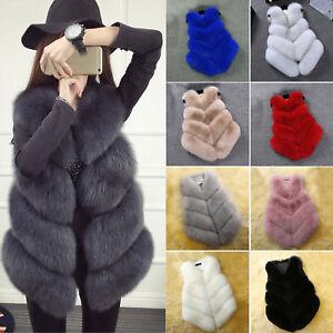 Damen-Fellweste-Weste-Pelz-Gilet-Outwear-Jacke-Mantel-Fur-Shaggy-Vest-Gr-34-44
