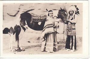RPPC - Indian family with horses and blankets - circa 1930s/1940s