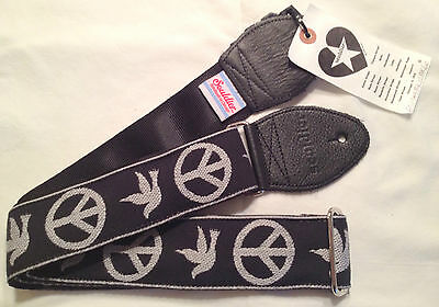 USA Hand Made Souldier Guitar Strap Black/White Neil Young Peace Sign Dove Symbl