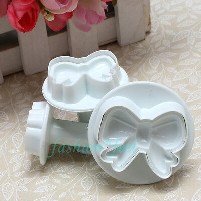 3pcs Bow Knot Fondant Cake Decorating Cookie Plunger Cutters Sugarcraft Mold W