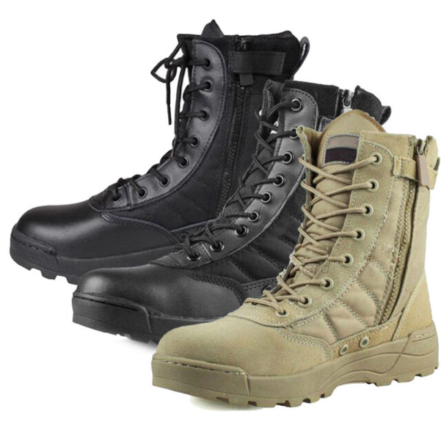 Men's Army Tactical Soft Leather Combat Military Ankle Boots Work Desert Shoes
