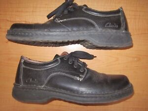 clarks men's size 11 casual oxford black leather shoes