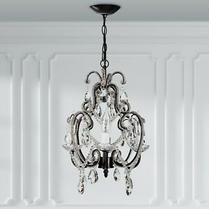 Details About Crystal Beaded Chandelier For Girls Room Mini Swag Lamp Hanging Lighting Fixture