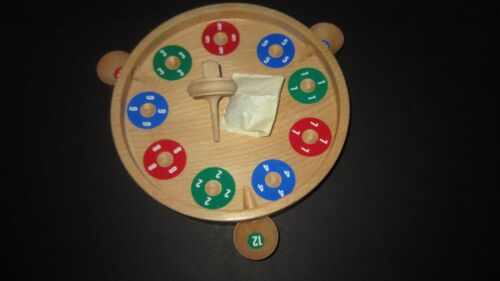 """Roulett Carlo"" Unknown Wooden Toy Game W 4 Marbles & Spinning Top Original Box"