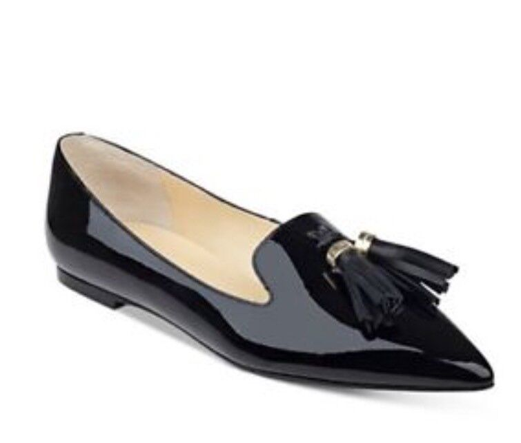 IVANKA TRUMP AUTH AUTH AUTH Women Black Tessel Patent Leather Pointed Toe Flat shoes Sz 7M 1f1564