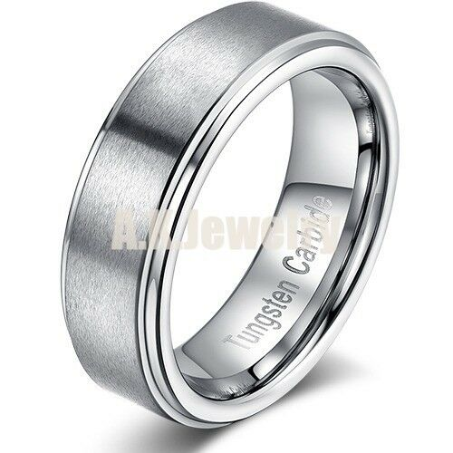 Tungsten Carbide Ring Gray brushed Wedding Band Men's Women jewelry 7mm Gift US