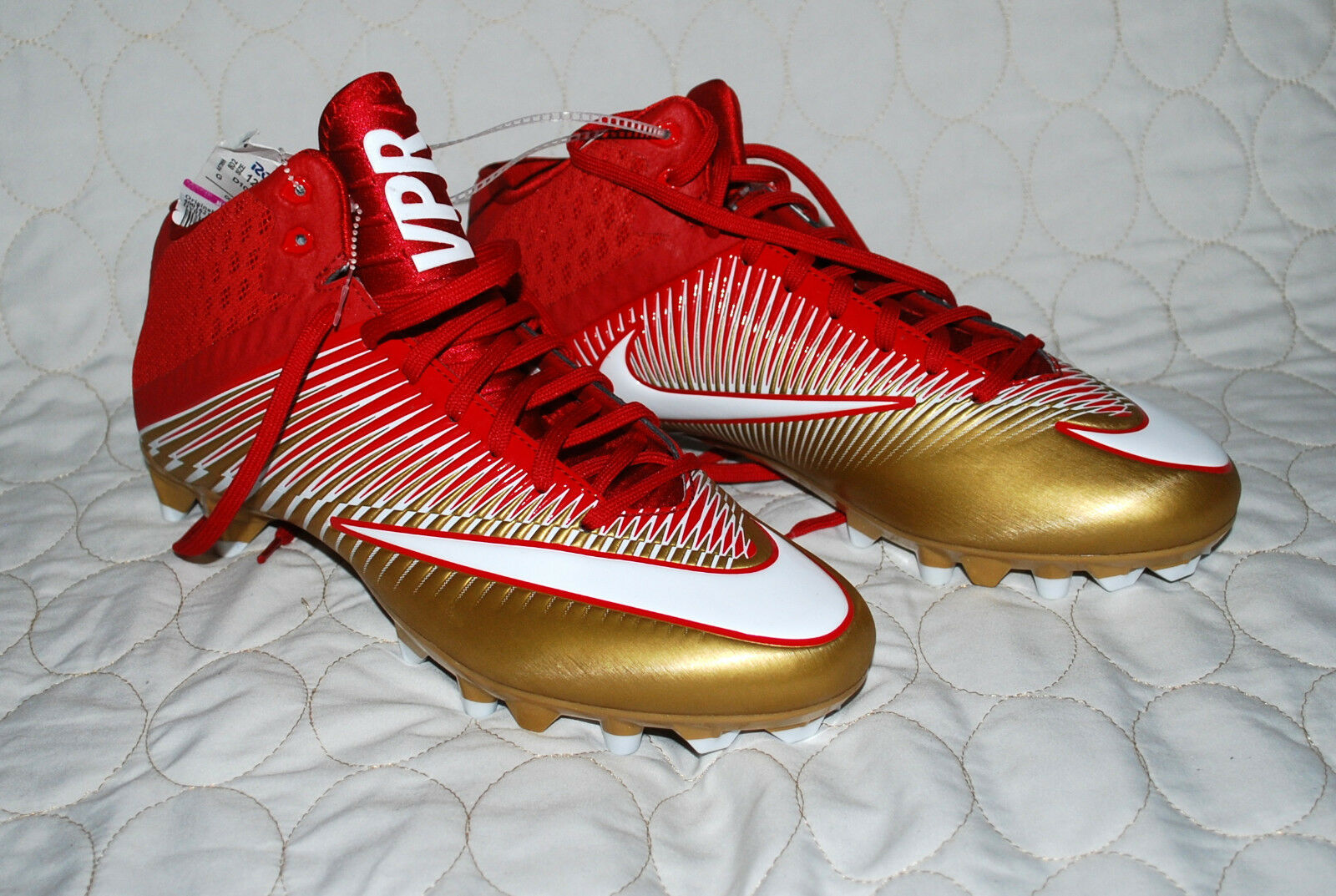 official photos 5eacb 8b2f6 Nike Football Cleats Vapor Speed 2 TD Mid Red Gold Mens Size 12 New. Fast  Ship. for sale online   eBay
