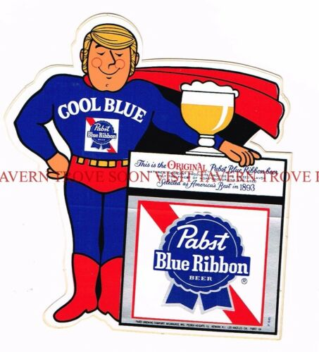 1970s Pabst Blue Ribbon Cool Blue Blonde Guy Superhero Decal Tavern Trove