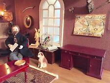 Dolls House Miniature 1:12th Scale Kneehole Desk Mahogany DOUBLE SIDED