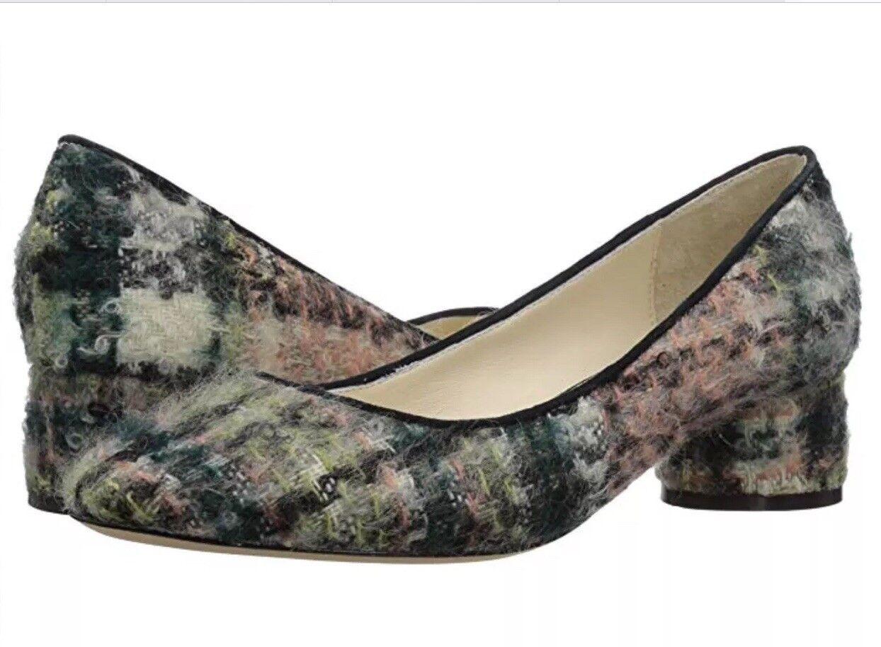 NEW BETTYE MULLER 7.5 Wool Mohair Round Toe Heel Deejay Pumps Navy Pink Green