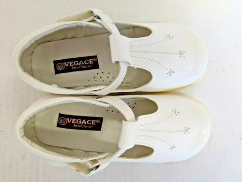 Vegace Toddler Infant Girl Walking White Leather Shoe Hook Loop Fastener As-Is