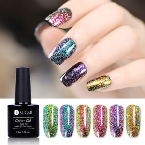 7-5ml-UR-SUGAR-Chameleon-Holographic-UV-Gel-Nail-Polish-Starry-Sparkle-Glitter