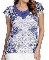 - One World Printed Knit Flutter Sleeve Embellished Hi-lo Top - Sz. M