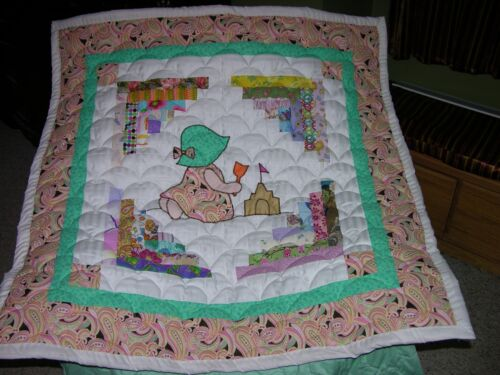 Beach Baby Sue Log Cabin Applique Baby Wall Quilt Double Batting
