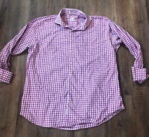 Peter-Millar-Purple-White-Gingham-Plaid-Check-Button-Long-Sleeve-Shirt-Mens-XL
