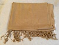 Preston & York Scarf With Tags Beige Tan Fringed Rayon