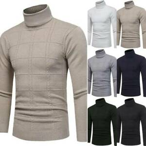 Men-High-Polo-Neck-Knitted-Jumper-Sweater-Long-Sleeve-Plain-Pullover-Winter-Tops