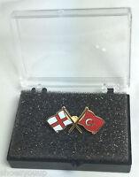 England St George Cross & Turkey Friendship Flags Enamel Lapel Pin Badge In Box