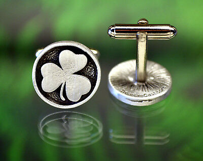 Lucky Shamrock  Silver Cufflinks  4 Leaf Clover cuff links  Gift for Him  2 Sizes   St Patrick/'s Day Gift  Gift for Irish