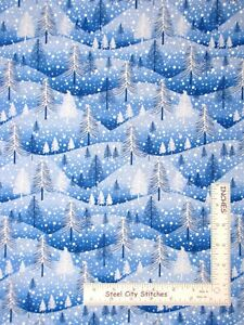 Christmas-Trees-Snow-Hills-Blue-Cotton-Fabric-Windham-2-Piece-Lot-21-034-and-10-034