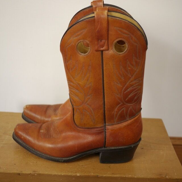 Vintage Cuero marrón rojiza Acme Pull-up Occidental botas De Vaquero 9.5D 43 EE. UU.