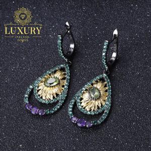 Natural-Peridot-Gemstones-Handmade-925-Sterling-Silver-Sunflower-Drop-Earrings