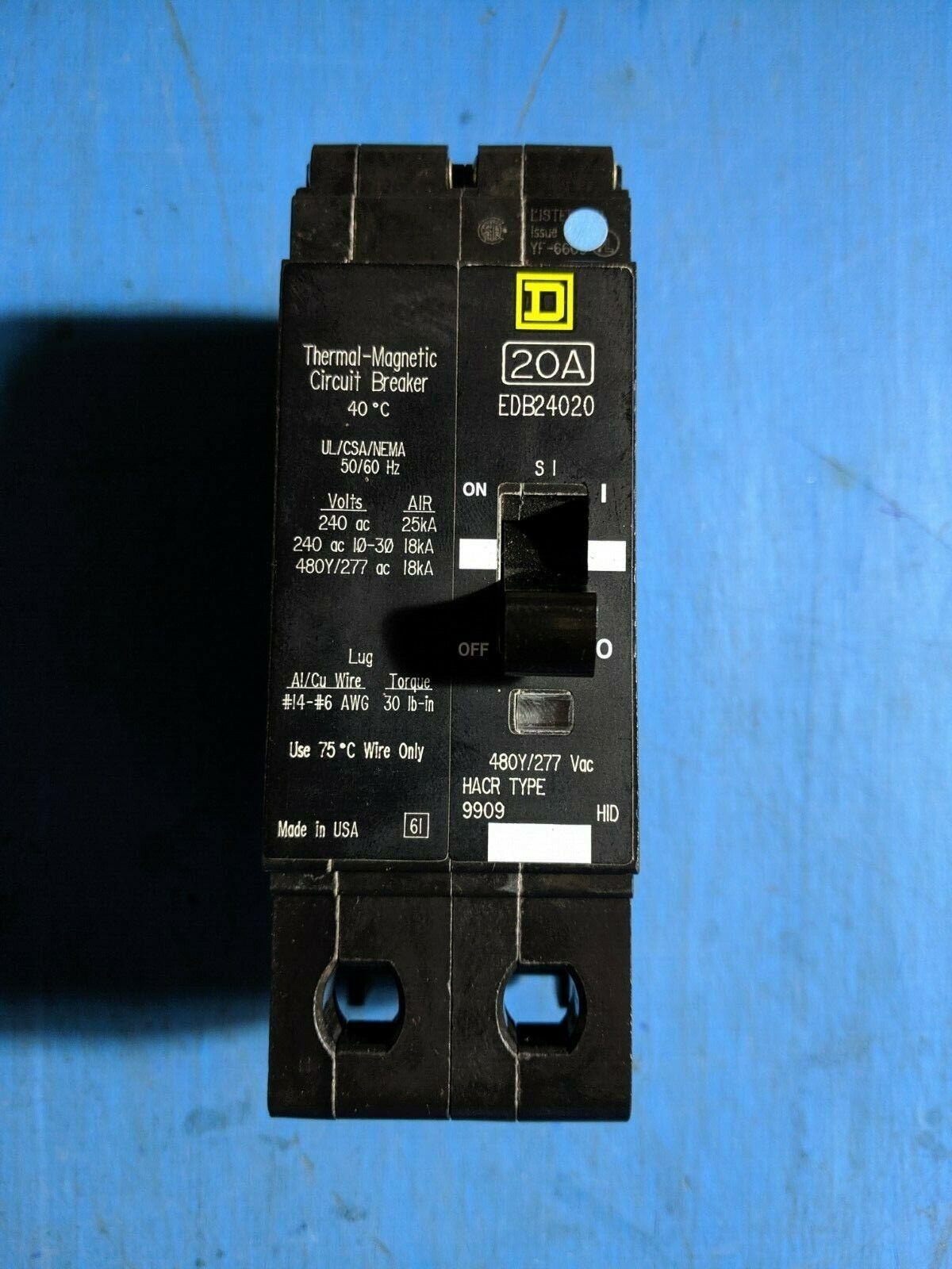 Square D EDB24020 Circuit Breaker 2P 20A 480Y//277V EDB EDB-24020 480V Used