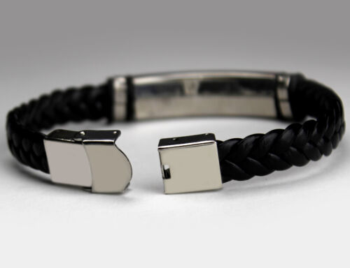 Stainless SteelLeather BraidedWeddingEngraved Men/'s Bracelet With Name