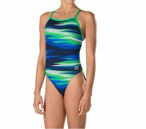Speedo Womens Swimwear Green Blue Size 24 Endurance Flyback One Piece $84 754