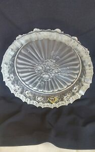 "Art Glass Fenton Frosted Glass 7 1/8"" Floral Rose Pattern Excellent Condition W/ Sticker Fenton"