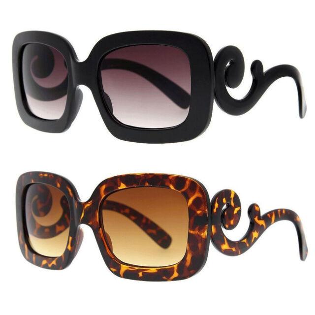 Swirl Arm Womens Square Retro Baroque Style Oversized Sunglasses