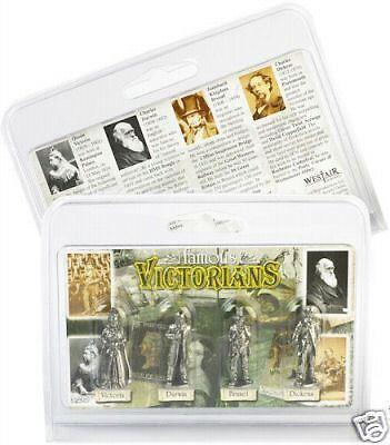 4 Famous Victorians Metal Figures Box Queen Brunel Darwin Dickens Industrial bn