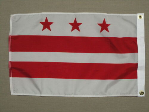 "District of Columbia DC Indoor Outdoor Dyed Nylon Boat Flag Grommets 12/"" X 18/"""