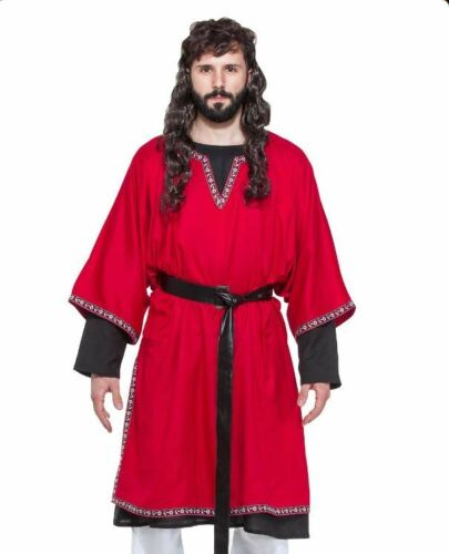 Medieval Viking Tunic Men/'s Red V Neck Rayon 3//4 Sleeve Historical Costume Garb