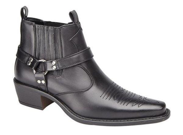 MENS GENTS BLACK FAUX LEATHER SIZE 6 7 8 9 10 11 12 COWBOY SLIP ON BUCKLE BOOTS