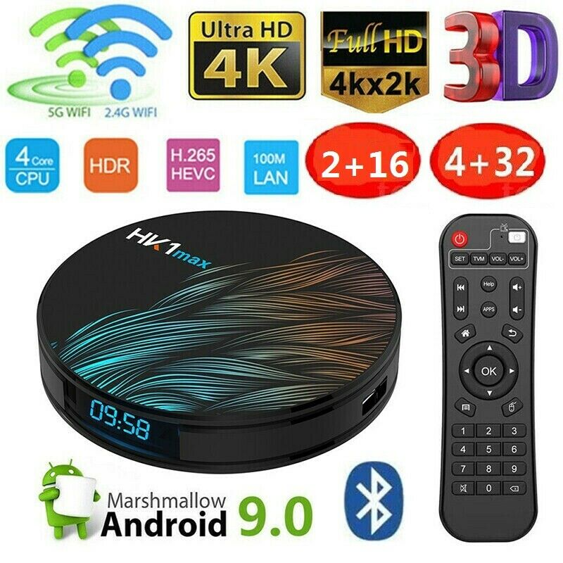 HK1max Android 9.0 Smart TV Box 2GB/4GB/32GB Quad Core UHD 4K Wifi Media Player android box core hk1max media player quad smart uhd wifi