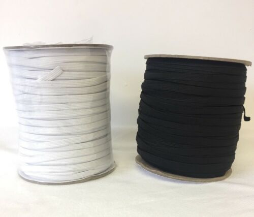 """Elastic 7mm 1//4/"""" Superior Quality White Black Knitted"""