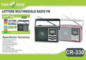 RADIO STEREO 3W PORTATILE LETTORE MP3 FM SD CARD USB BATTERIA RICARICABILE