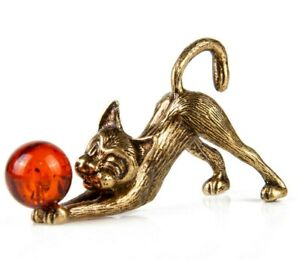 Cat-Figurine-Brass-and-Natural-Amber-Kitten-Sculpture-Figurine