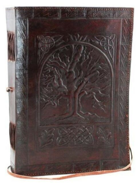 vintage large tree of life leather blank book diary journal 240