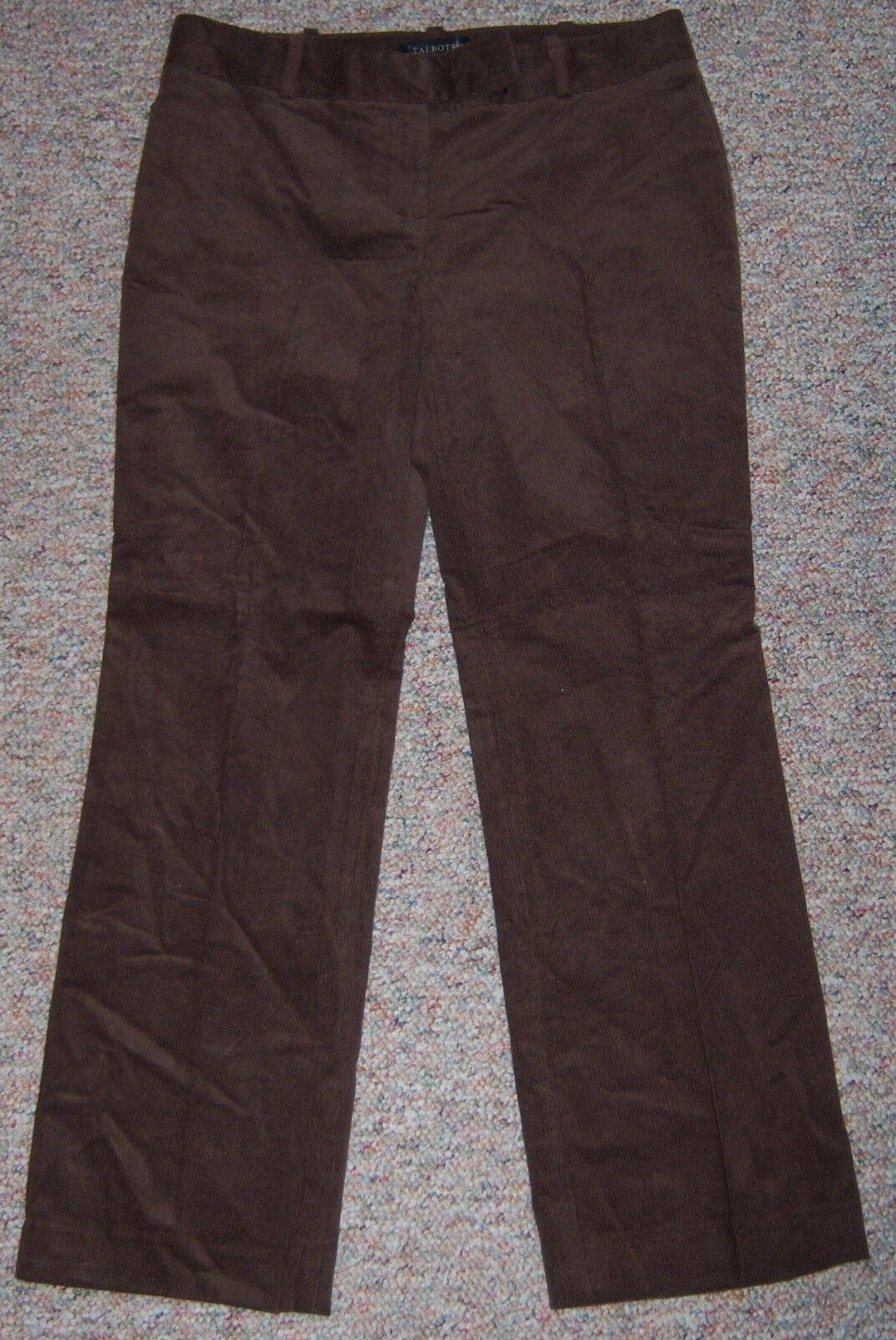TALBOTS Dark Brown Signature Wide Leg Corduroy Pants Inseam 29  Size 8P 8Petite