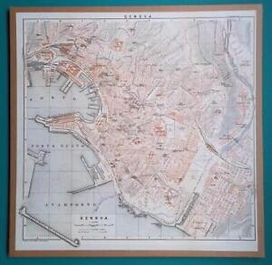 ITALY-Genova-Genoa-City-Plan-1931-BAEDEKER-MAP-12-5-x-12-5-034-32-x-32-cm