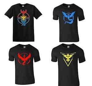 Men-039-s-Black-T-Shirt-FRONT-Pokemon-GO-Team-Mystic-Instinct-Valor-Pokeball-Nerd