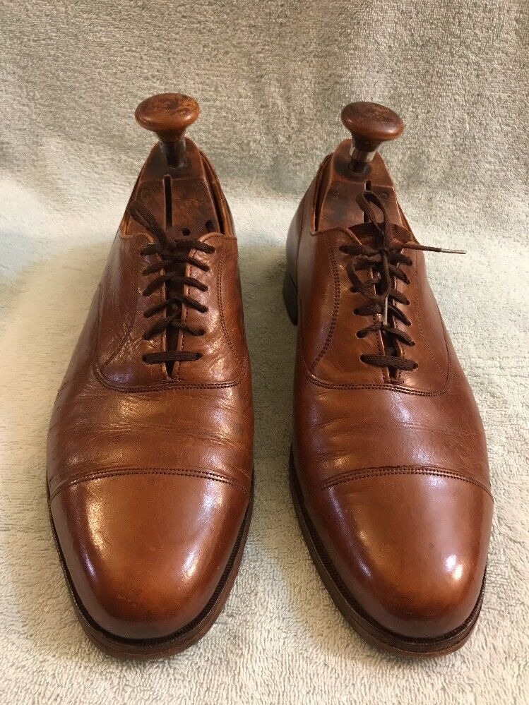 Vintage Cole Haan Made in England Marron Cap Toe Derbies Taille 9.5 D