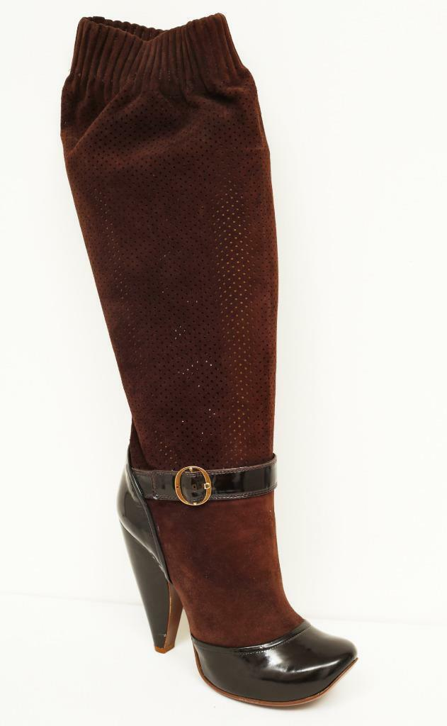 MARC Leder JACOBS Patent & Perforated Leder MARC High Heel Buckle Slouch Sock Stiefel 9-39 6f4e8f