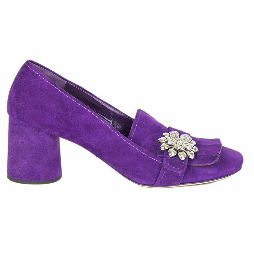 56206 56206 56206 auth PRADA purple suede CRYSTAL EMBELLISHED BLOCK HEEL Pumps shoes 38 90dbc9