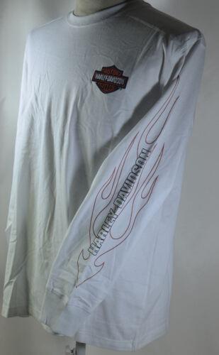 Genuine Harley Davidson H-D Mens T Shirt WHITE L//S Cotton Tee L Large LGE NEW