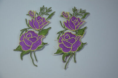 2x PURPLE LILAC ROSE FLOWER Embroidered Sew Iron On Cloth Patch Badge APPLIQUE