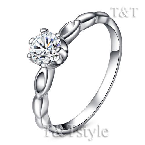 TTstyle Elegant 5mm 18K White Gold GP Fashion Ring