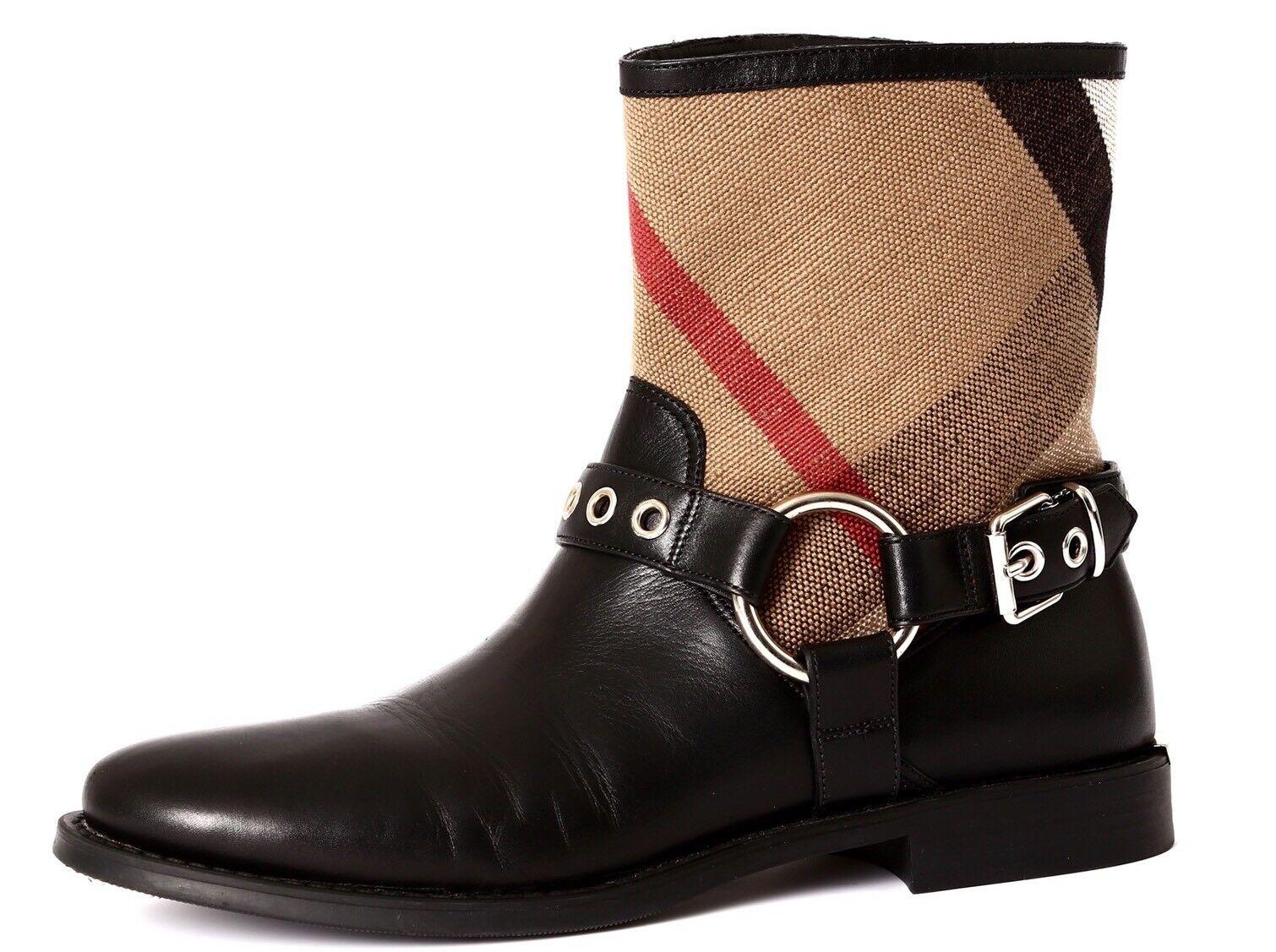 Burberry Queenstead Women's Black Silver Leather Boot Sz 37.5